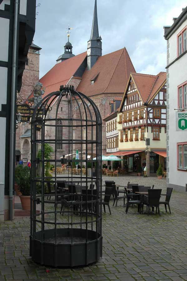 Trillerkäfig Ansicht von Innenstadt auf Marktplatz